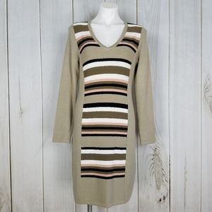 Calvin Klein Brown Pink Tan Sweater Dress